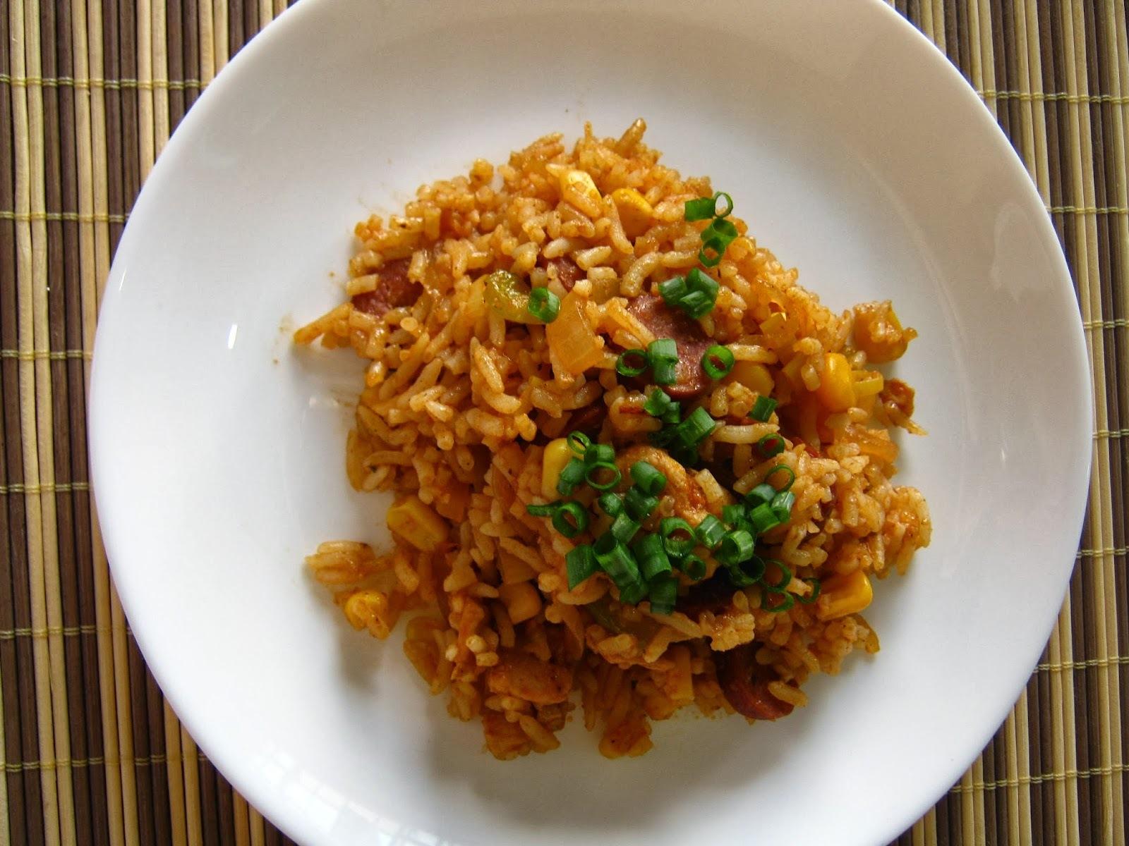 de arroz temperado com frango simples