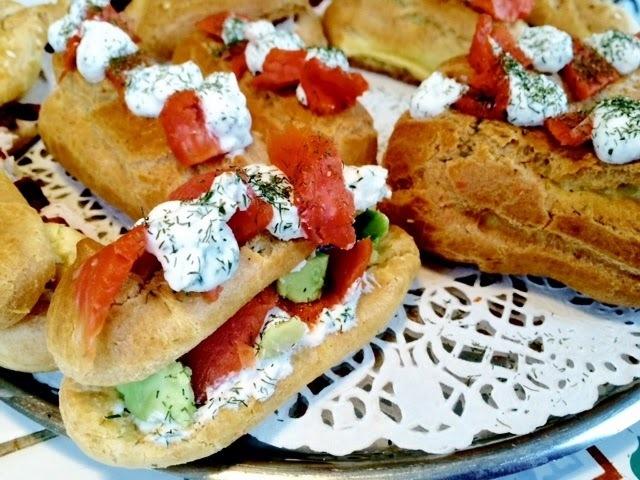 Eclairs salés ricotta/saumon ou thon/tomates séchées