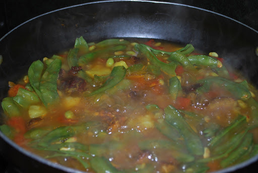 Lima Beans Curry with Smoked Beef - Cooking without Oil - A Rongmei Traditional Dish