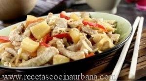 Como prepara lomo de cerdo con brotes de soja y ananá