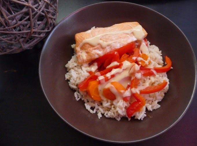 Saumon, légumes, riz, sauce au safran au thermomix