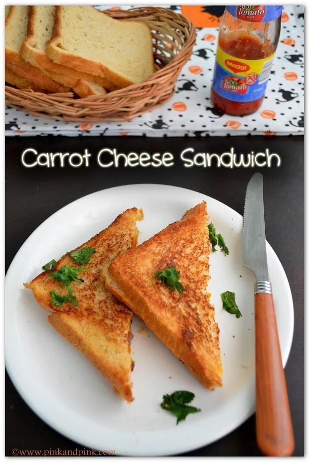 Veg Cheese Sandwich Recipe - Carrot Cheese Sandwich