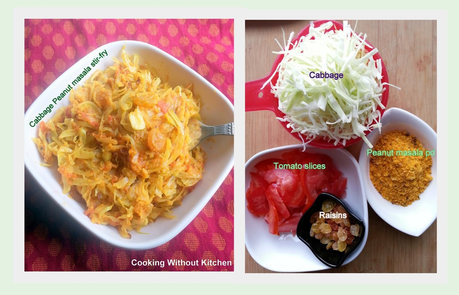 Cabbage peanut masala stirfry (Kobi nu shaak)