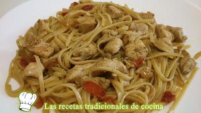 Receta de Tallarines o Espaguetis con Pollo