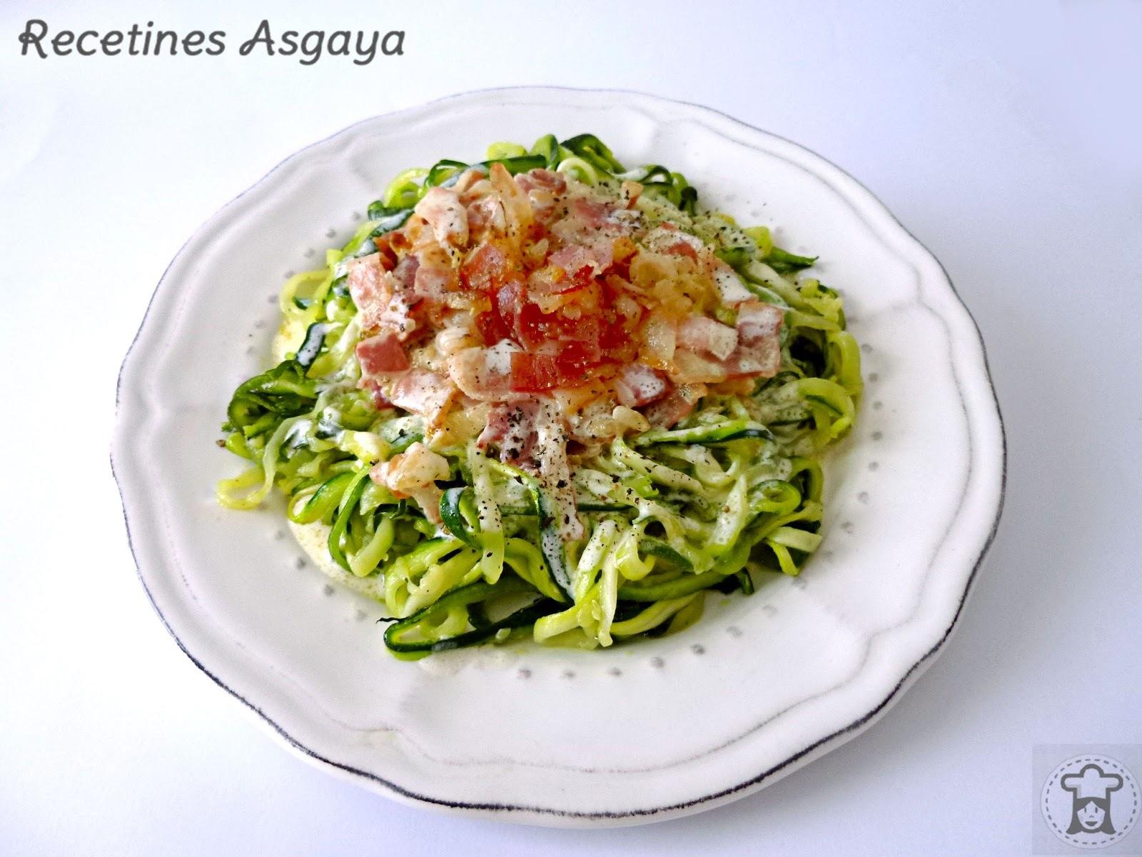 Spaguetti de Calabacín a la Carbonara
