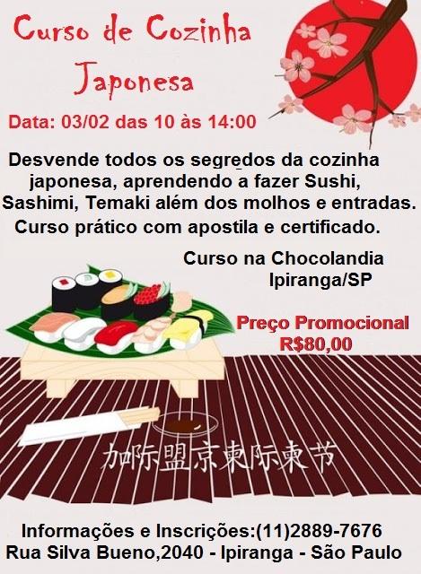 Novo Curso Cozinha Japonesa na Chocolandia Ipiranga
