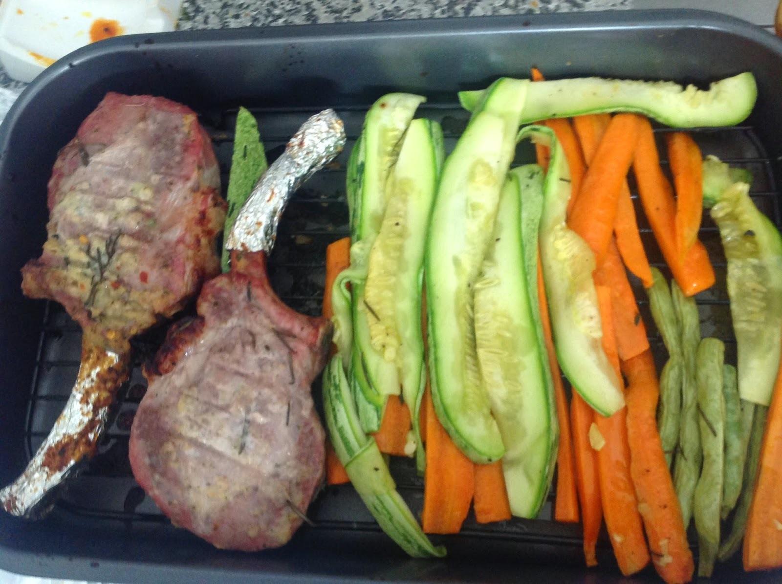 Prime Rib suíno assado com legumes