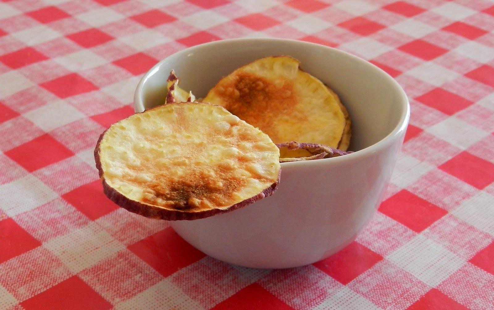 Chips de batata doce de micro-ondas