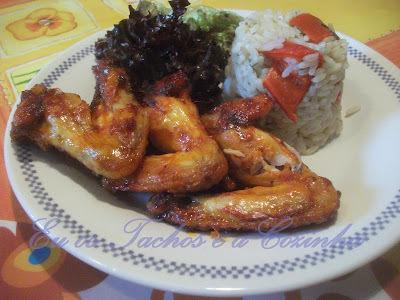 Hühnerflügel mit Reis Paprika