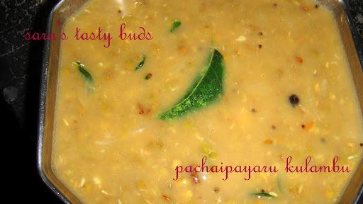 Pachaipayarru kulambu / green gram dhal curry