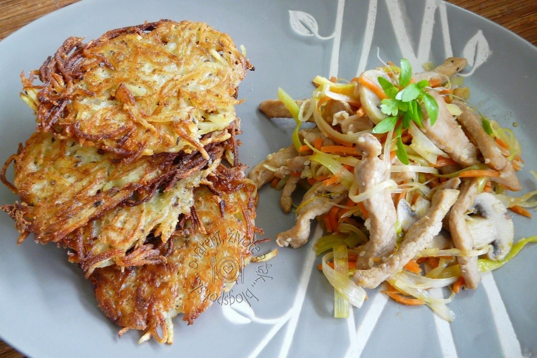 Bravčové so zeleninovými rezancami a zemiakové rosty
