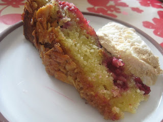 raspberry and almond slice