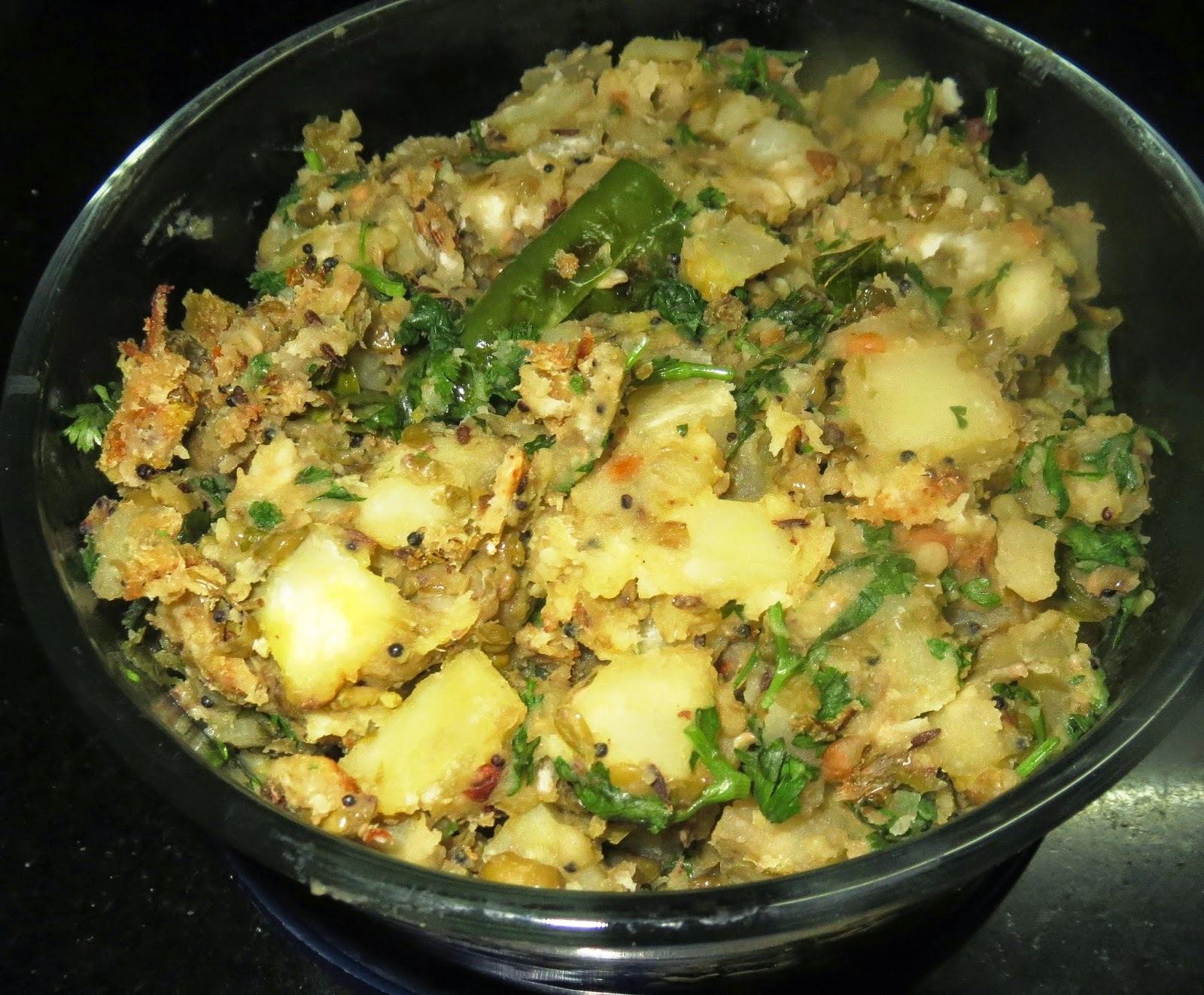 Green Gram -Sweet Potato Dry Curry + Parata