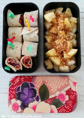 Bento de minis wraps au choudou, chou rouge, carotte et radis et Bento de salade pommes - poires aux 4 épices (Journal de France 2 du 10 janiver 2016)