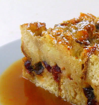 Cranberry Bread Pudding with Orange Hard Sauce - Away A While Recipe Favorites