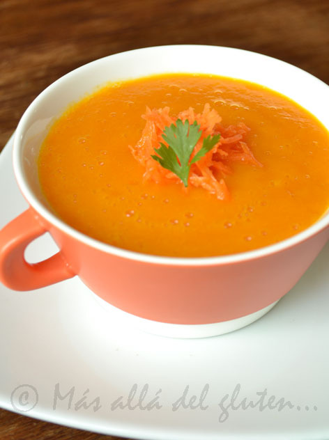 Crema de Zanahoria Baja en Grasa (Receta GFCFSF, Vegana)