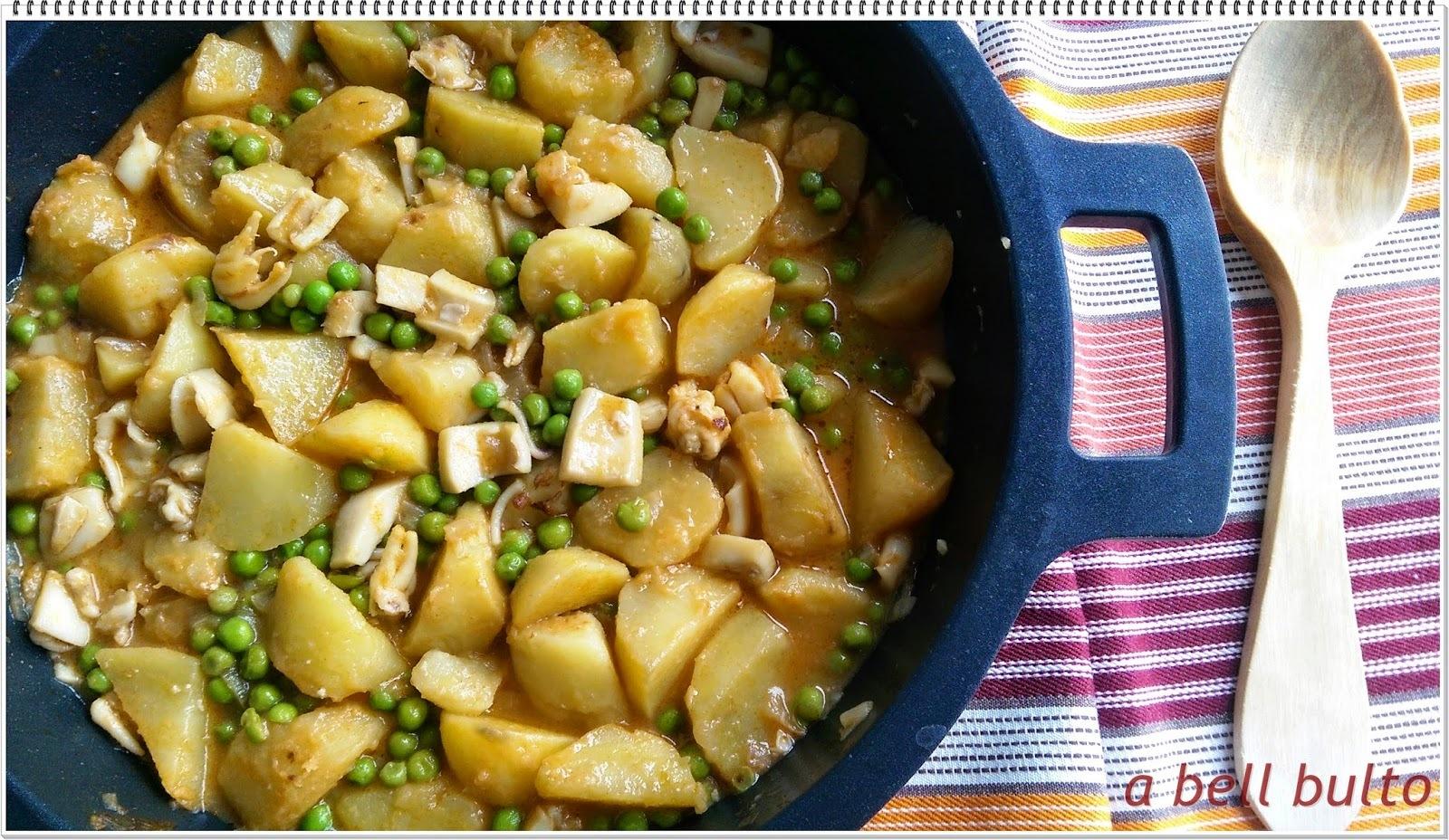 Sípia amb patates i pèsols
