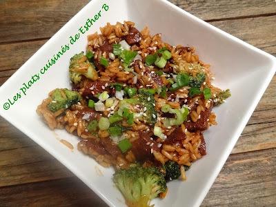 Boeuf au gingembre et riz au brocoli