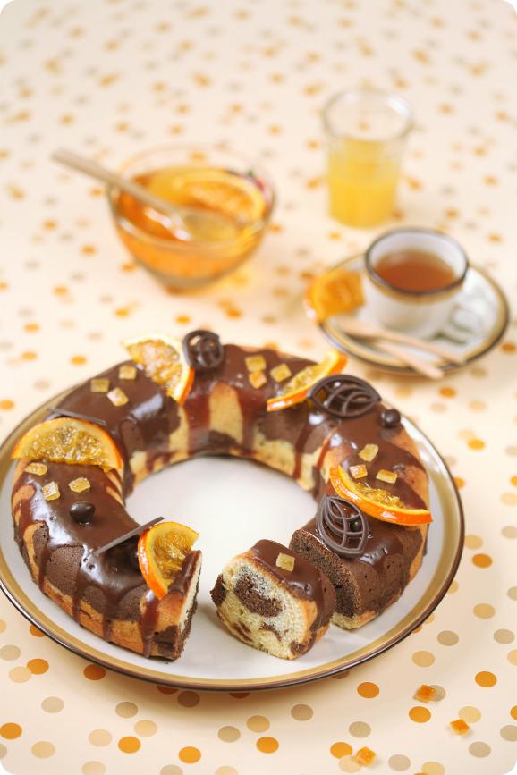 Шоколадно-апельсиновый мраморный кекс / Bolo mármore de cacau e laranja