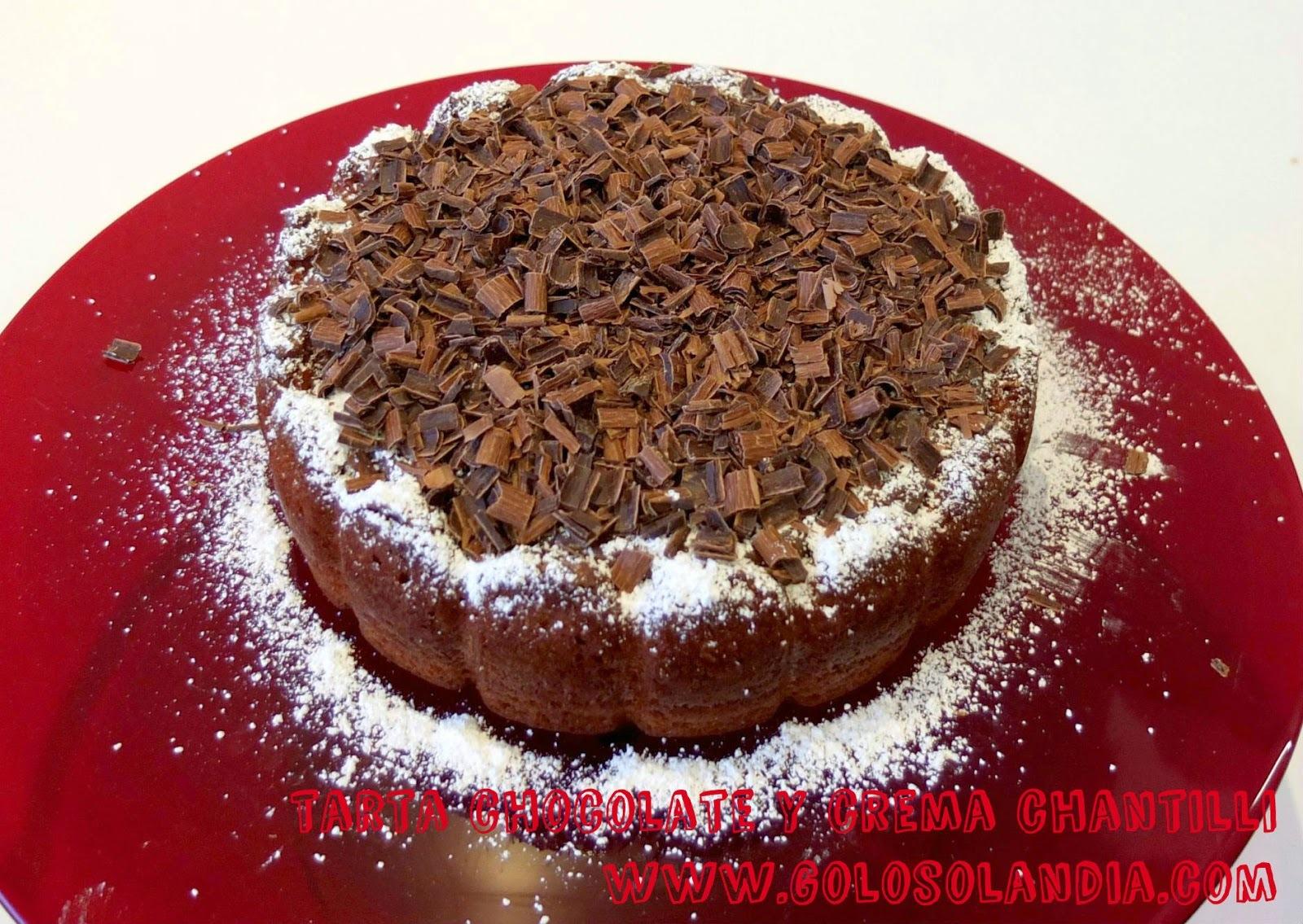 Tarta de chocolate y crema chantilli