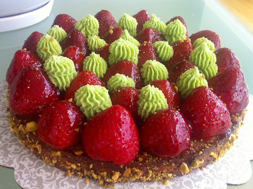 Tarte fraises & pistache (recette de Michalak)