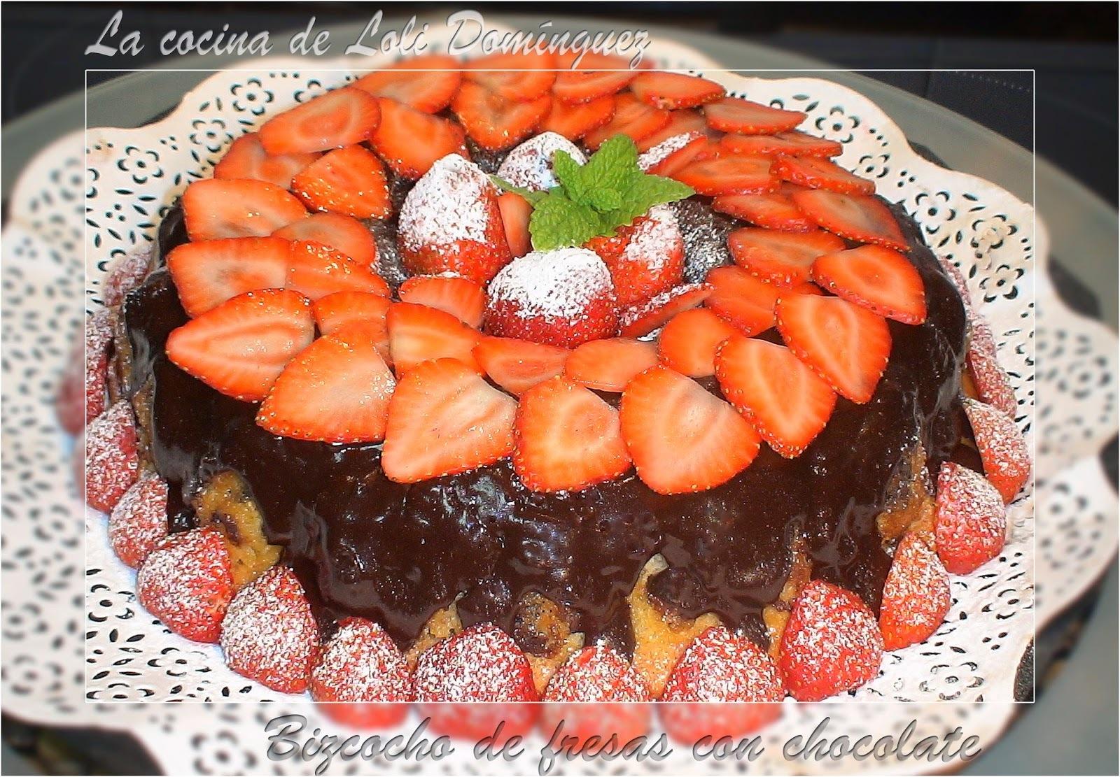 Bizcocho de fresas con chocolate