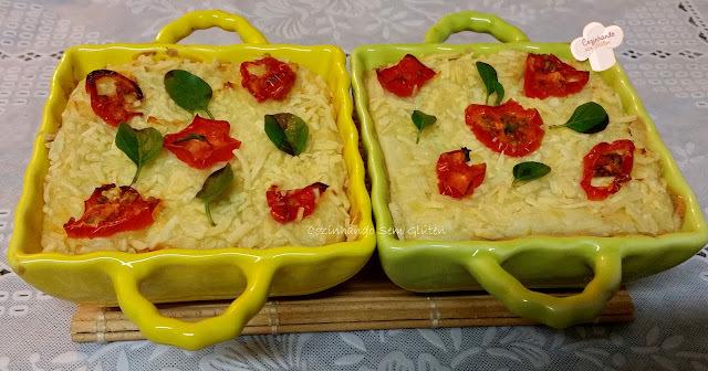 Torta salgada de batata-doce e tomatinhos