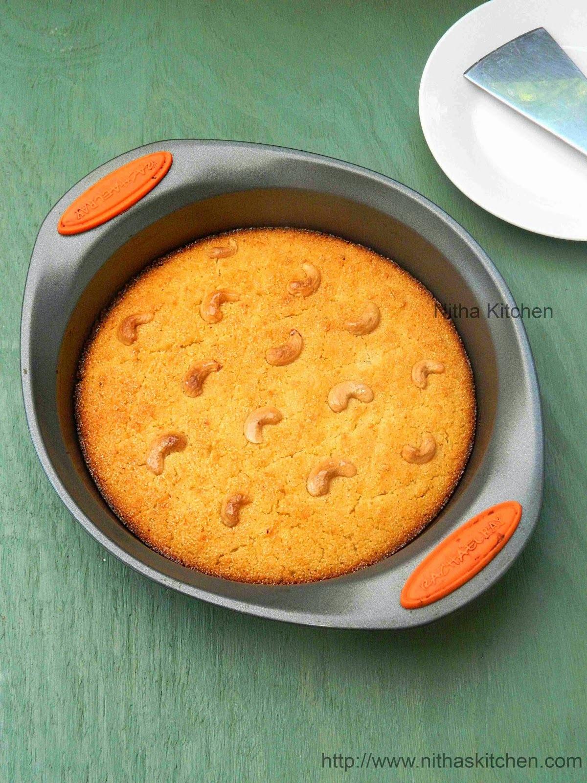 Basbousa | Semolina Yogurt Cake | Rava Coconut Cake Recipe