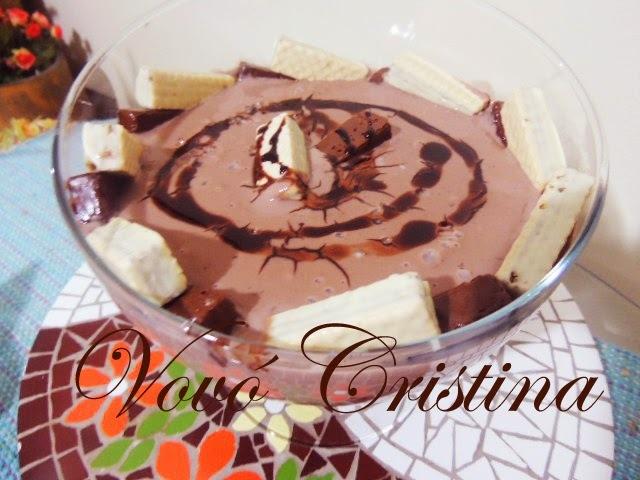danete caseiro com pudim de chocolate