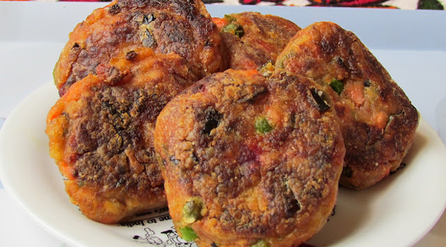 Delicious Vegetable Cutlets (Pan fried, Low fat Cutlets)