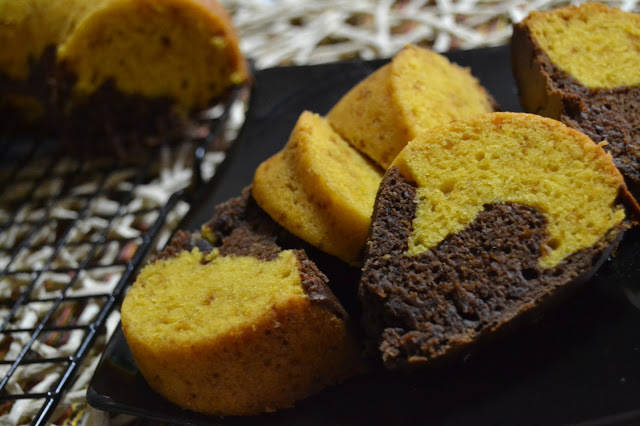 Eggless Mango Chocolate Marble Cake