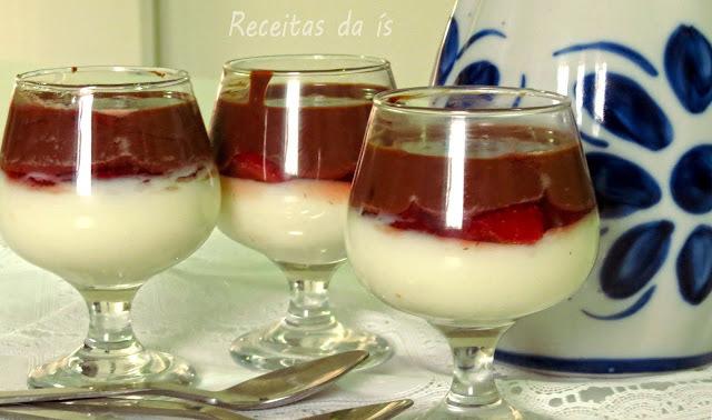 TACINHA DELICIOSA ( creme, morango e chocolate)