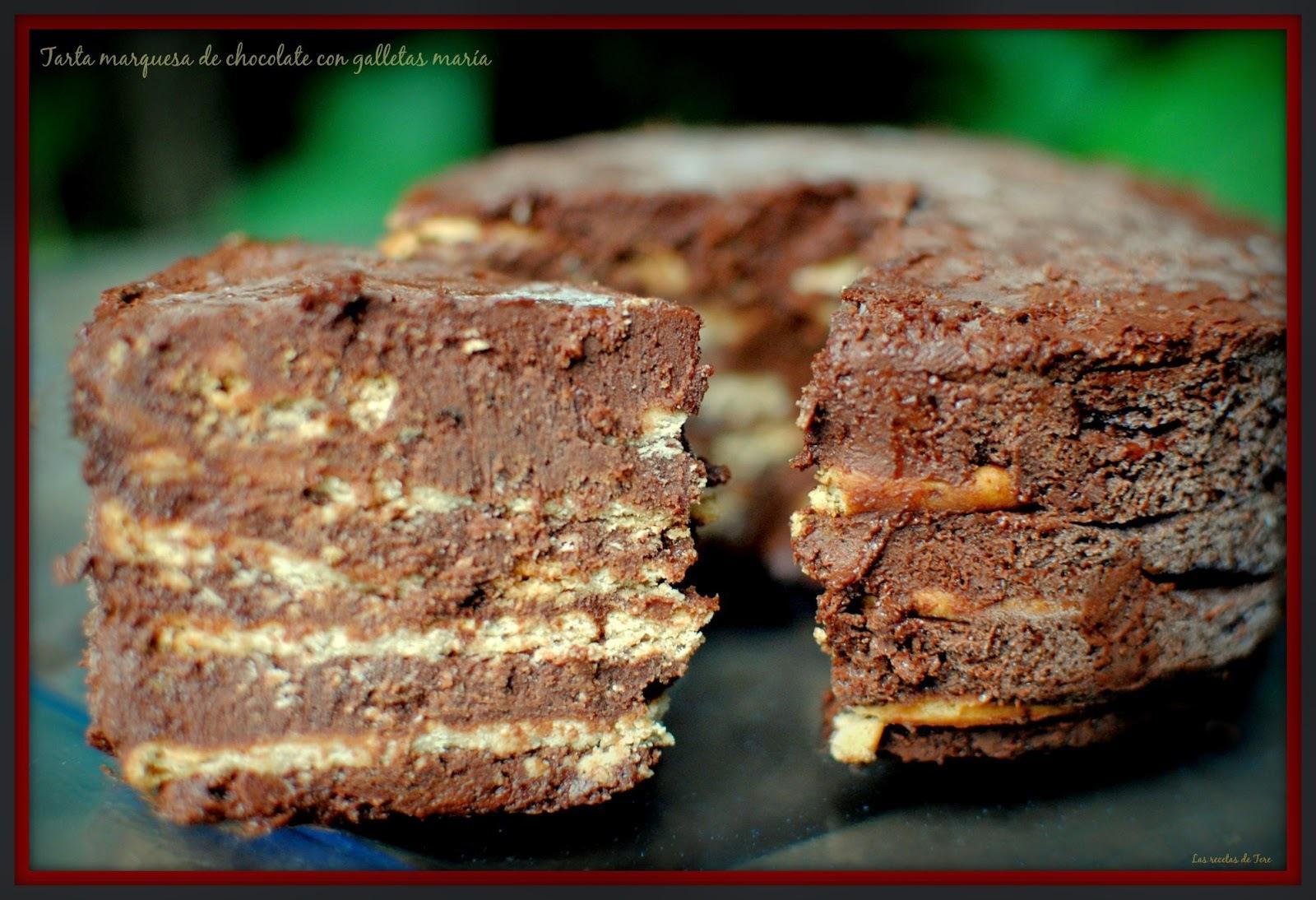 Tarta marquesa de chocolate con galletas maría.