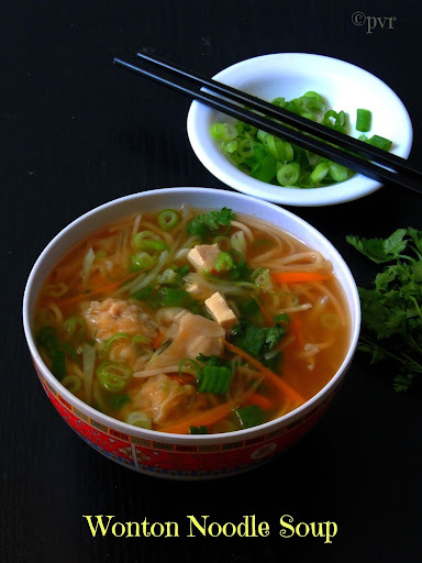 Vegetarian Wonton Noodle Soup & Chinese Scallion Pancakes
