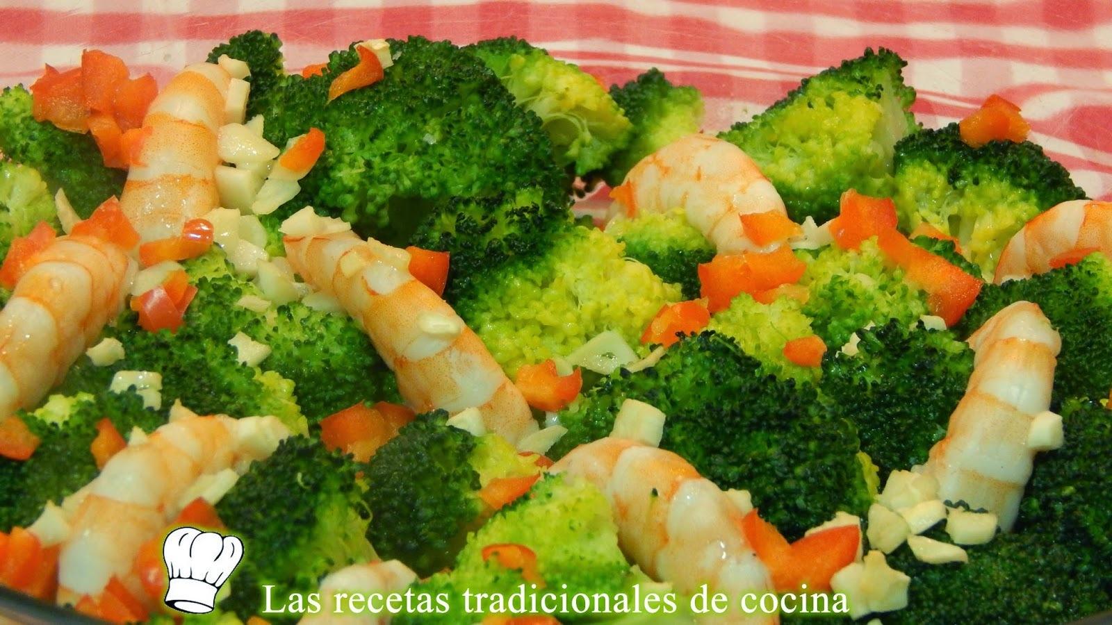 Receta de brócoli al horno con langostinos