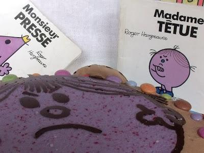 Gâteau d'anniversaire Madame Têtue (chocolat fourré à la crème d'amande)