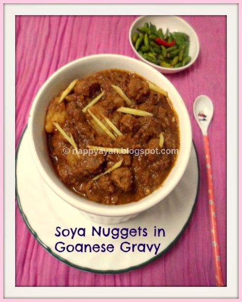 Soya Nuggets in Goanese Gravy