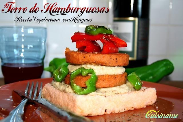 Torre de Hamburguesas con Hummus y Pimiento | Receta Vegetariana