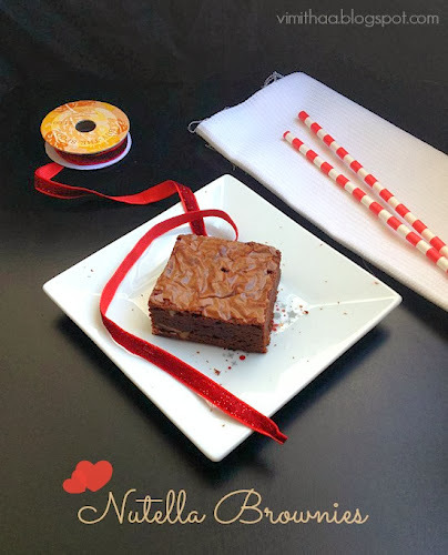 Nutella Brownies for 3 years of blogging