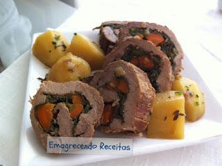 Rocambole de Carne com espinafre
