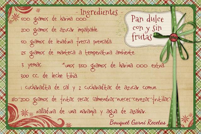 Receta de Navidad. Pan dulce con y sin frutas