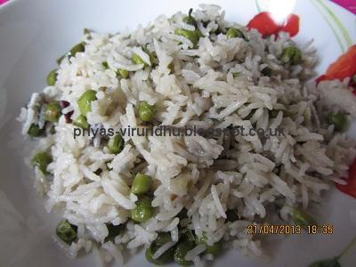 Simple  & Quick Peas Pulav /Matar Pulav