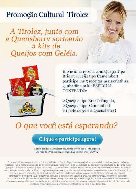 Queijos Tirolez & Quensberry, vão dar uma cesta de produtos para as 5 melhores receitas, participe da promoção!