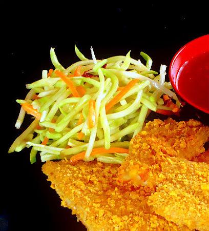 Crispy Fish Sticks with Broccoli-Carrot Slaw and Sweet Chili Sauce