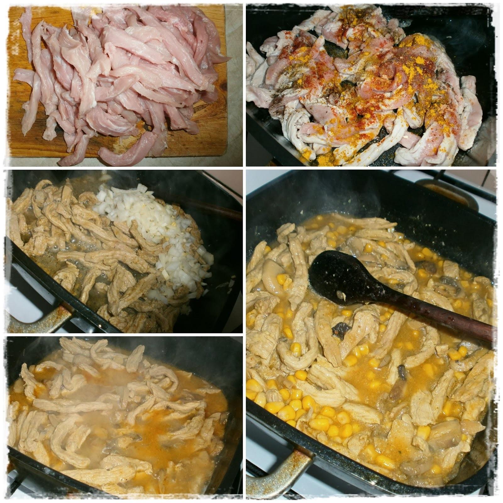 Dusené bravčové so šampiňónmi a kukuricou, brokolicou a ružičkovým kelom
