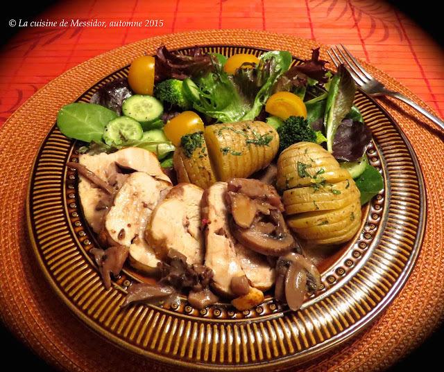 Coq au porc, sauce crémeuse forestière