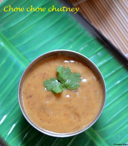 Chow chow / chayote squash chutney recipe - Side dish for dosas