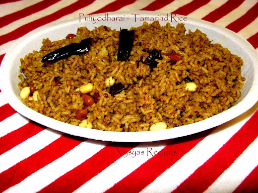 Puliyodharai  - Authentic  Pulihora - Tamarind Rice -  Step Wise Pictures