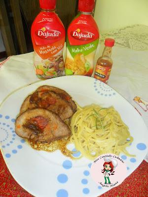 Carne assada com espaguete só fica excelente com os Molhos D'Ajuda