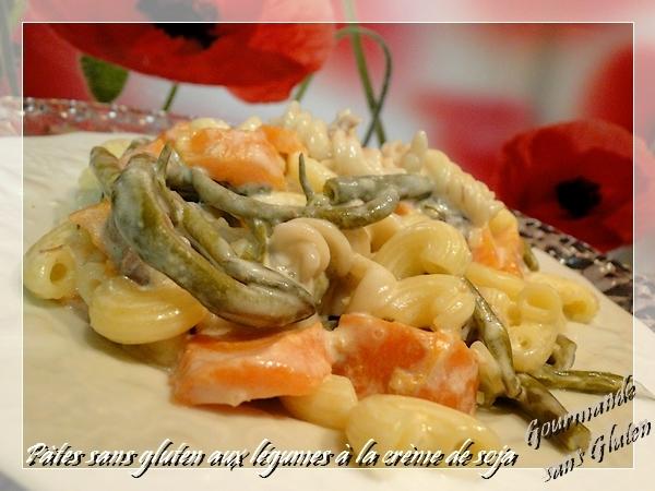 Pâtes sans gluten aux légumes à la crème de soja